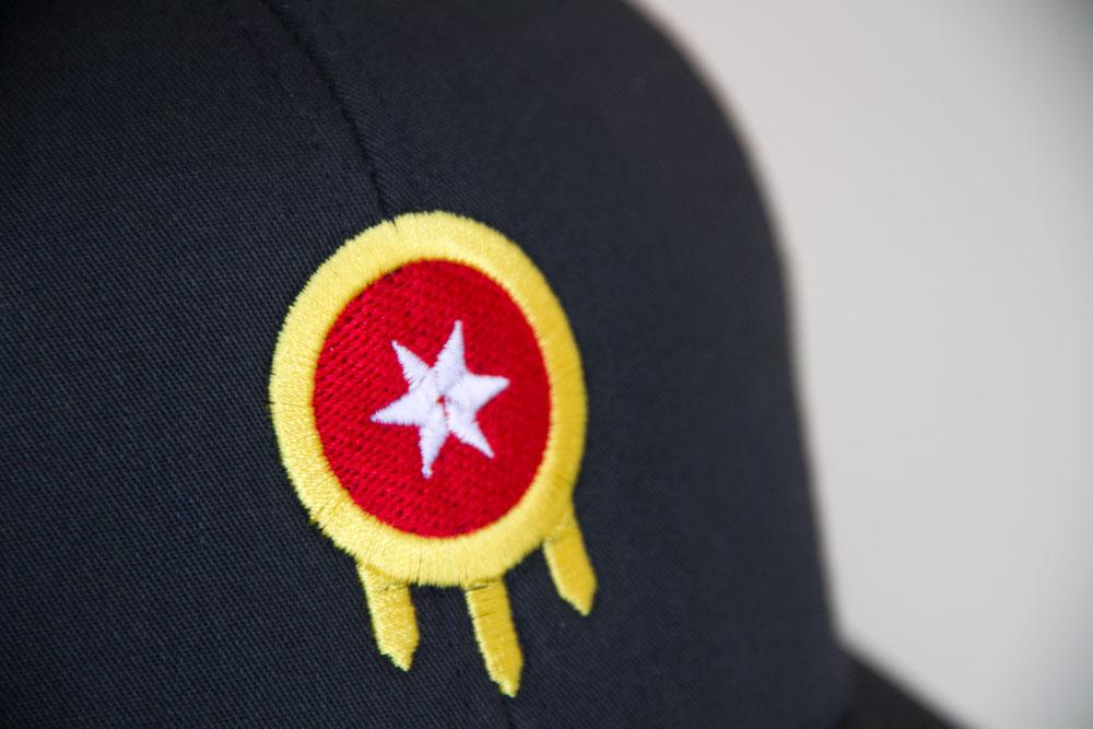 Tulsa Flag Hat Closeup Embroidery Mythic